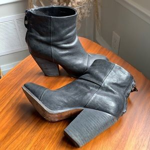 Rag & Bone Black Leather Bootie Heels